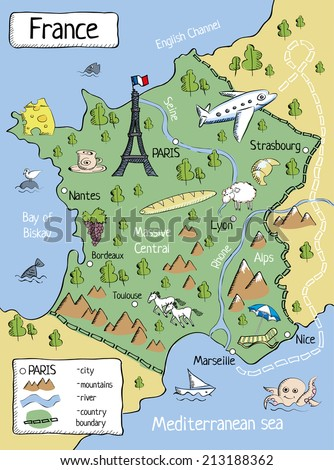 Cartoon map of France with characters and objects - stock photo