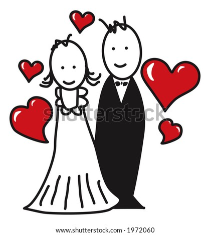 Cartoon/married couple - stock photo