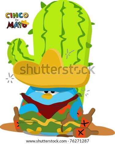 Cartoon Mexican Penguin - stock photo