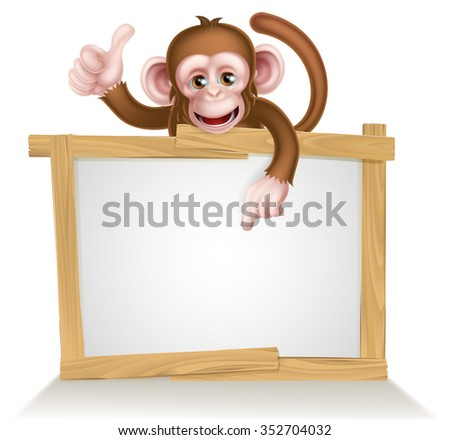 Cartoon monkey character peeking over a sign and pointing at it - stock photo