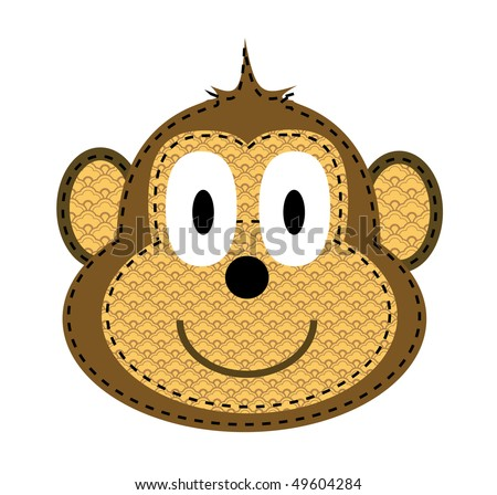 cartoon monkey face with smile - stock photo