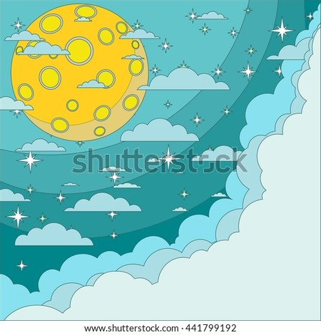 Cartoon moon with space for text in the clouds. Stock illustration.