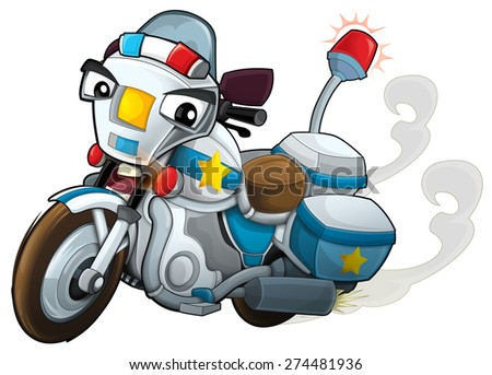 Cartoon motorcycle - illustration for the children - stock photo