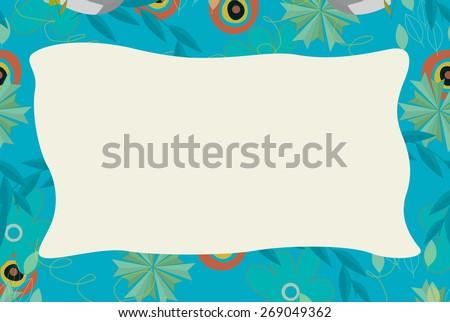 Cartoon nature frame  - horizontal - nature - illustration for the children - stock photo