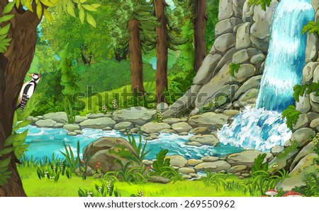 Cartoon nature scene - illustration for the children - stock photo