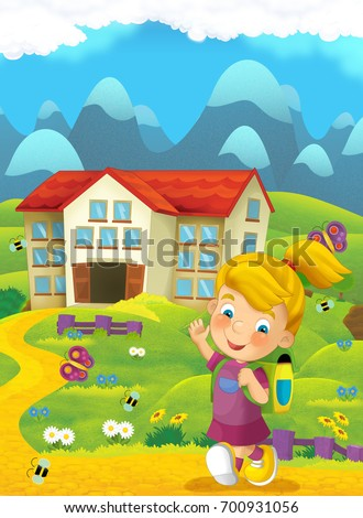 Cartoon nature scene with child on the trip to school - illustration for children