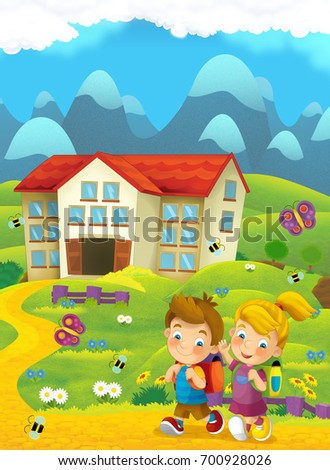 Cartoon nature scene with children on the trip to school - illustration for children