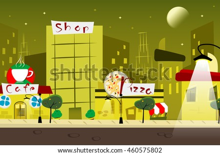 Cartoon night city with cafe, shop, pizza . Raster version - stock photo