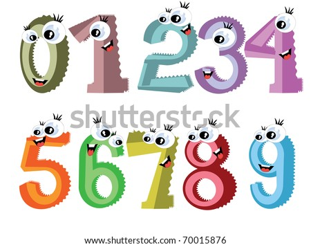 Cartoon numbers - stock photo