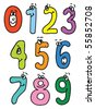 cartoon numbers.raster - stock photo
