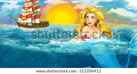 Cartoon ocean and the mermaid - illustration for the children - stock photo