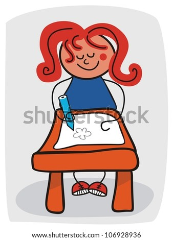 Cartoon of a happy little girl doodling - stock photo