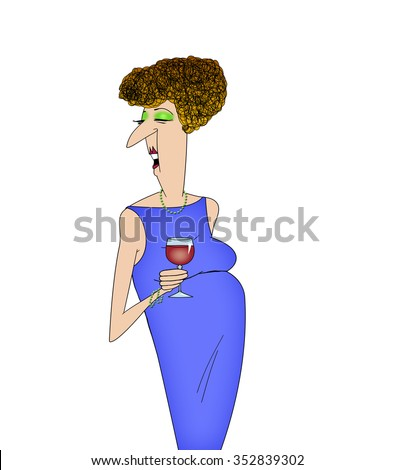 Cartoon of a lady at a cocktail party drinking wine isolated on white