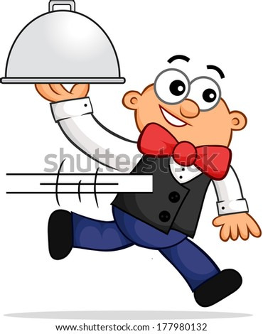 Cartoon of a running waiter representing fast service. - stock photo