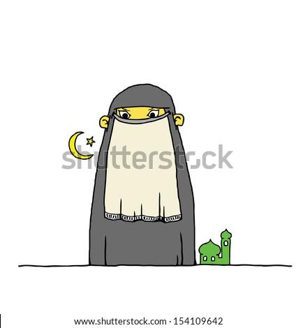 Cartoon of an Arab girl wearing a religious burqa.  - stock photo