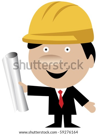 Cartoon of an engineer or architect wearing a yellow protection helmet and standing with blueprints.