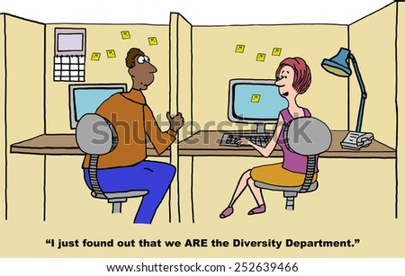 Cartoon of businessman and businesswoman realizing they ARE the Diversity Department. - stock photo
