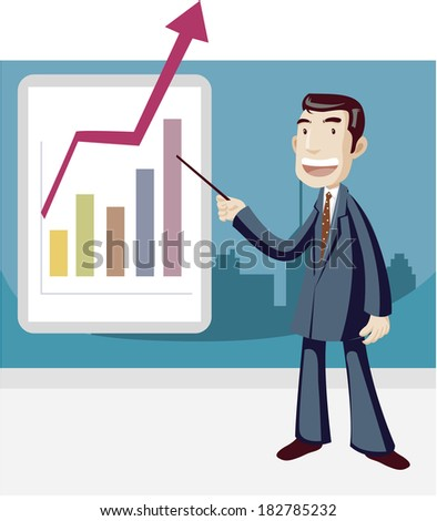 Cartoon of businessman presenting chart