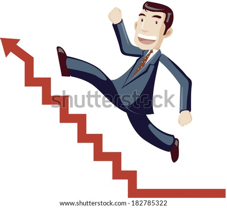 Cartoon of businessman running up stairs