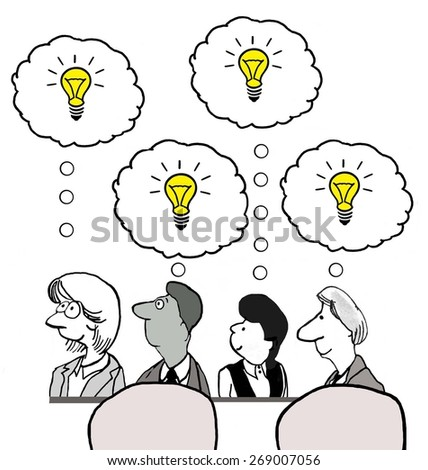 Cartoon of businesspeople who all have new and unique ideas.      - stock photo