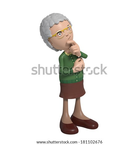 Cartoon of elderly lady in green cardigan contemplating or thinking - stock photo