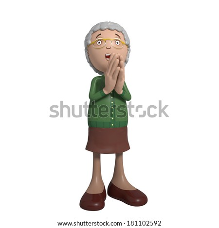 Cartoon of elderly lady in green cardigan praying - stock photo