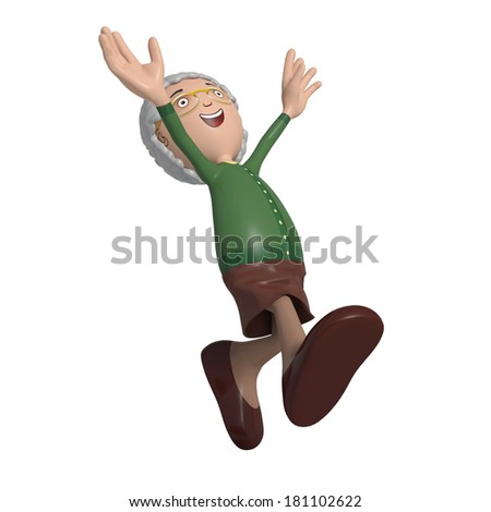 Cartoon of elderly lady in green cardigan running around in joy and laughter - stock photo