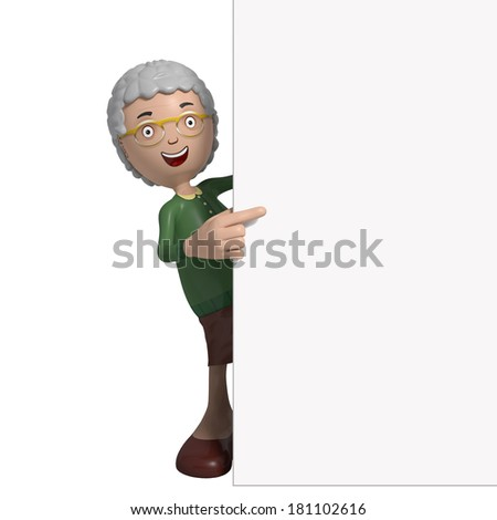 Cartoon of elderly lady in green cardigan standing behind sign or placard or wall - stock photo