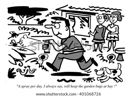 Cartoon of enthusiastic gardener running with bug spray protecting his plants