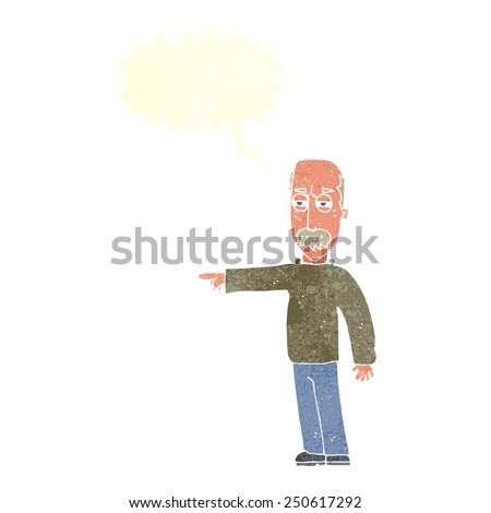 cartoon old man gesturing Get Out! with speech bubble - stock photo