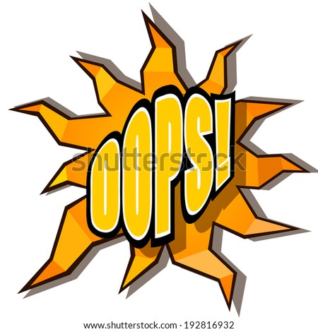 Cartoon oops with rays - stock photo