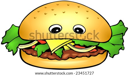 Cartoon orange brown burger on a white background - isolated - stock photo