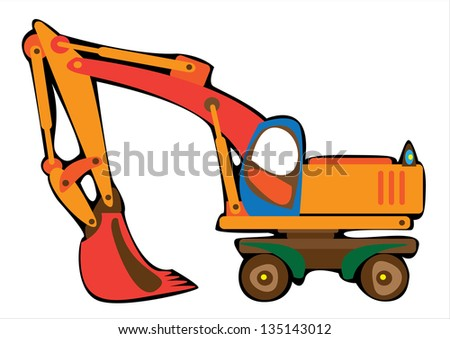 cartoon  orange excavator isolated on white background - stock photo