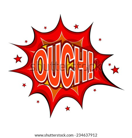 Cartoon OUCH! on a white background. Raster copy. - stock photo