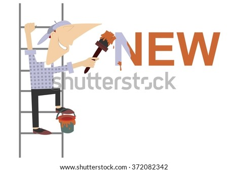 Cartoon painter refreshes inscription. Cartoon worker climbs on the ladder and paints the word new   - stock photo