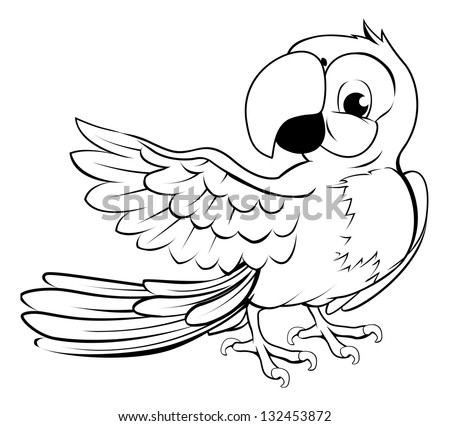 Cartoon parrot character in black outline pointing with its wing - stock photo