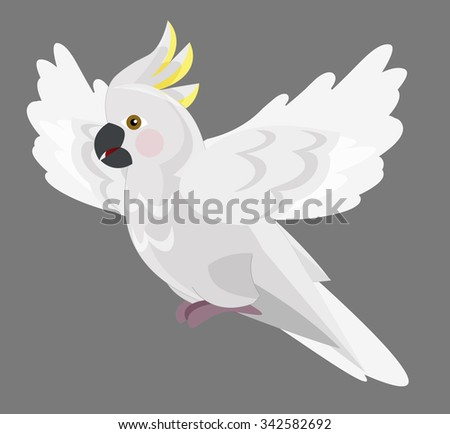 Cartoon parrot - cockatoo - isolated - illustration for the children - stock photo