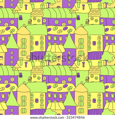 Cartoon pattern with tiny bright vector houses and trees. Hand drawn seamless ornament can be used for web page textured backgrounds, pattern fills, design projects, textile, wrapping, wallpaper. - stock photo