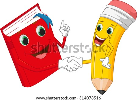 Cartoon pencil and books shaking hands - stock photo