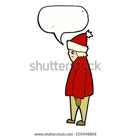 cartoon person in winter clothes with speech bubble - stock photo