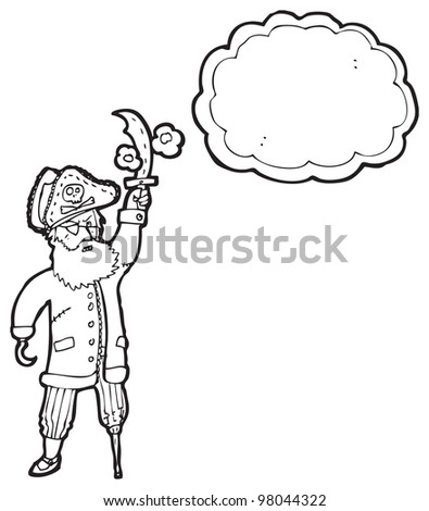 cartoon pirate captain with large thought bubble - stock photo