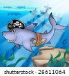 Cartoon pirate shark with shipwreck - color illustration. - stock photo