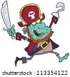 Cartoon Pirate Zombie With A Cutlass. Raster Illustration.Vector version also available in portfolio. - stock vector