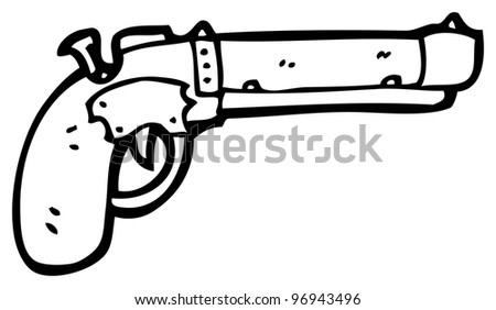 cartoon pistol (raster version) - stock photo