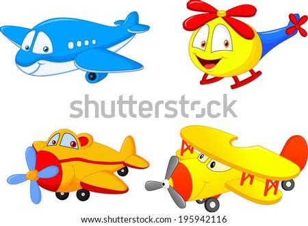 Cartoon plane - stock photo