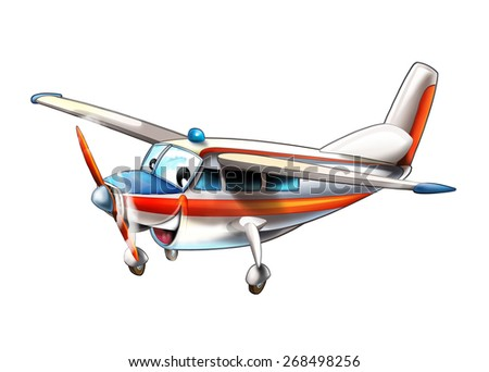 Cartoon plane - glider - caricature - illustration for the children - stock photo