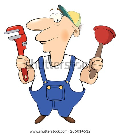Cartoon plumber with tools cartoon
