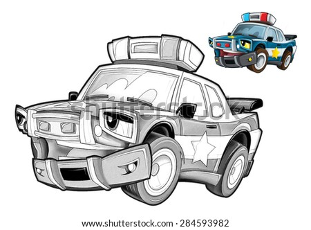 Cartoon police car - caricature - coloring page - illustration for the children - stock photo
