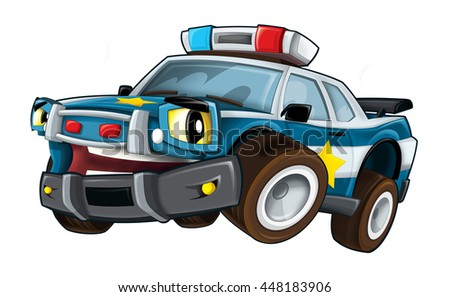 Cartoon police car - isolated - illustration for the children - stock photo