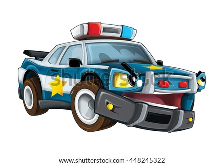 Cartoon police car - isolated - illustration for the children